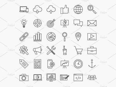 FREE SEO Line Art Icons internet website computer business development web line icon vector seo freebie free