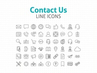Contact Us Line Icons