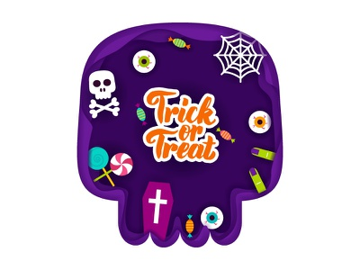 Trick or Treat Papercut spiderweb candy illustration vector coffin scary trick or treat skull cut paper papercut halloween