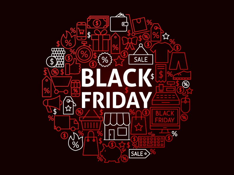 Black Friday Concept percent price coupon discount shop line vector shopping black friday sale friday black