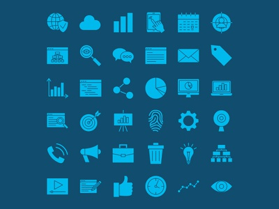 Web Development Solid Icons pictogram marketing website business glyph solid technology computer vector icon development web