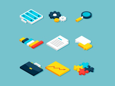 Big Data Isometric Objects gear seo business server statistics icon illustration vector analytics isometry isometric big data