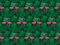 Tropical Flamingos Seamless Pattern