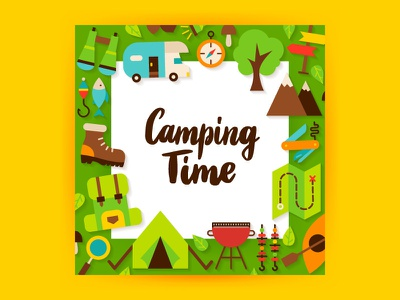 Camping Flat Concept travel adventure nature tourism trailer tent mountain summer camp camp hiking camping illustration vector