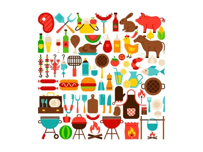 Barbecue Grill Objects food steak beef flat roast beef meat picnic bbq party grill barbecue bbq illustration vector