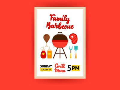 Barbecue Family Poster rost beef roast beef poster food menu kebab meat grill family barbecue barbecue bbq illustration vector