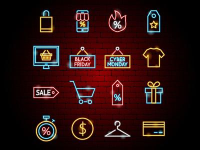 Black Friday Neon Icons neon shop market shopping bag cart hot sale discount shopping cyber monday black friday sale outline illustration icon line vector