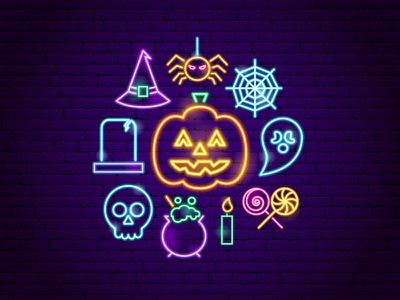 Halloween Neon Concept scary october holiday spider witch skull ghost jack o lantern trick or treat happy halloween halloween neon line illustration vector