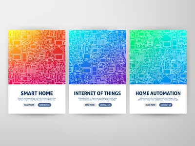 Smart Home Web Banners poster house remote control automation flyer web banner banner home automation home iot internet of things smart home outline illustration line vector