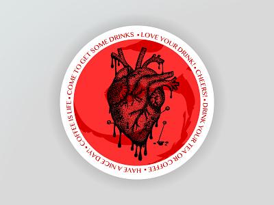 Dotwork Heart Drink Coaster hand drawn dotwork tattoo broken needle cruel blood anatomical heart anatomy heart coaster design coaster illustration vector