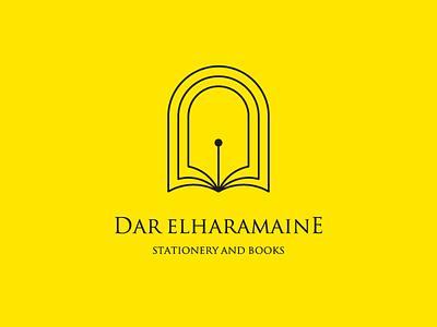 Dar ElHaramaine   Logo Design arch pen bookstore books stationery logo