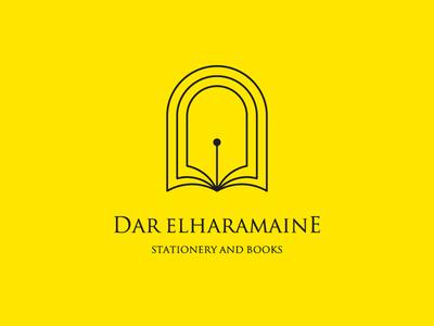 Dar ElHaramaine | Logo Design arch pen bookstore books stationery logo