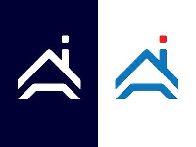 Ai House   Real estate logo brand branding design logo estate real home house letter a