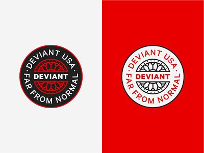 Deviant badge custom branding illustration vector wheels car wheel clean badge design badge