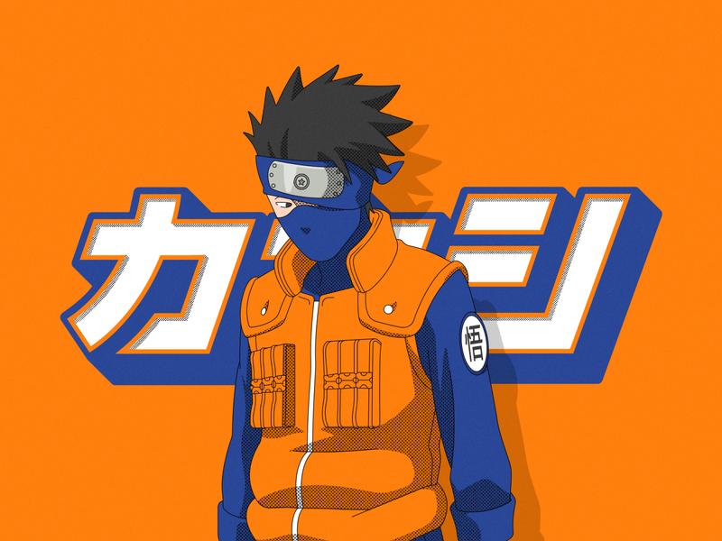 Gokashi graphic design art lettering manga kanji naruto anime kakashi character typography vector design illustration