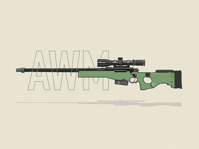 AWM player unknowns battlegrounds vector illustration gun awm pubg