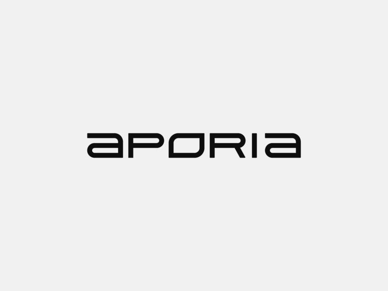 Aporia brand modern typography custom type graphic branding design clean logo