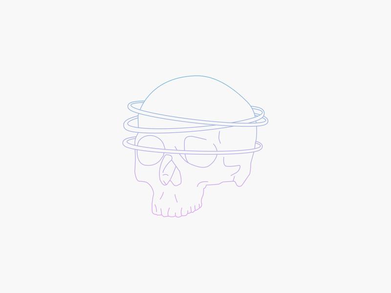 Skull vector clean gradient illustration illustrator halo skull