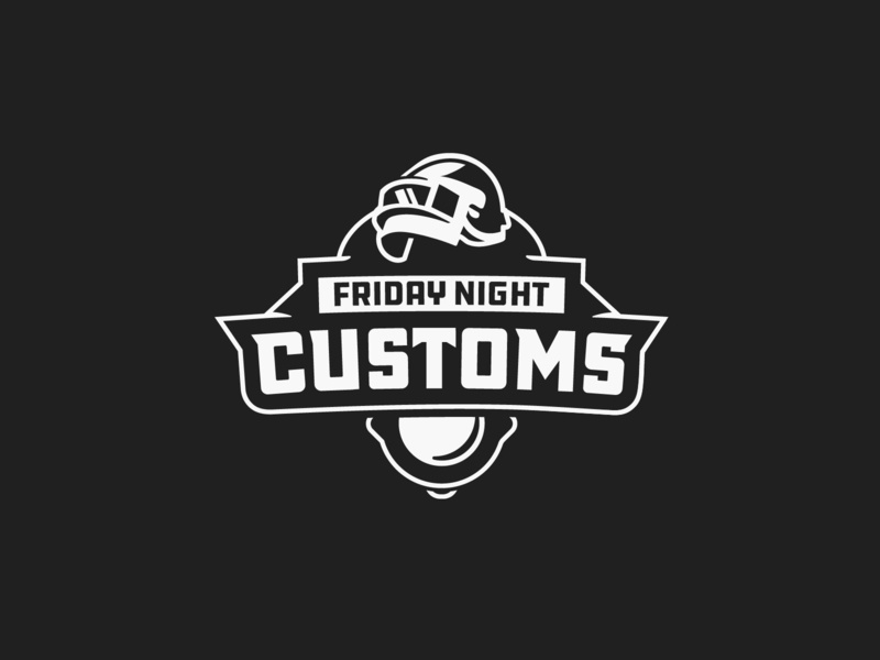 Friday Night Customs mlg illustration helmet pc battlegrounds pubg vector design clean