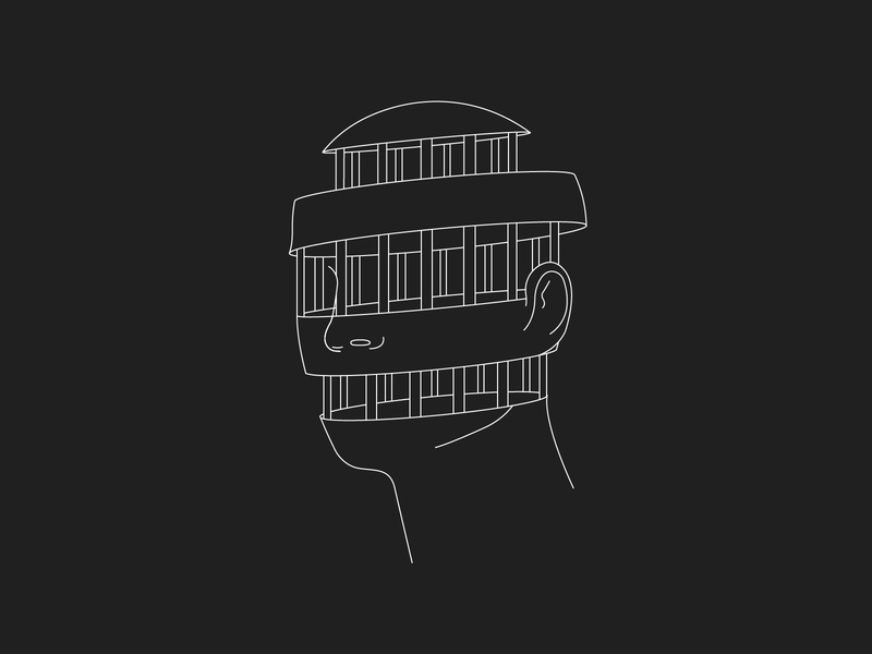 Caged portrait trapped cage head design graphic vector clean illustration
