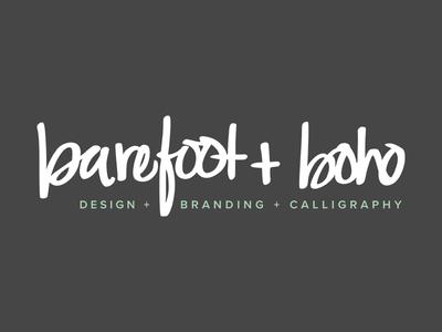barefoot + boho branding calligraphy lettering handlettering custom lettering custom text script logo branding