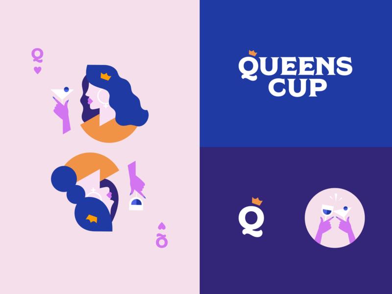 Queens Cup design logo typography branding crown queen queen of hearts card queens queens cup