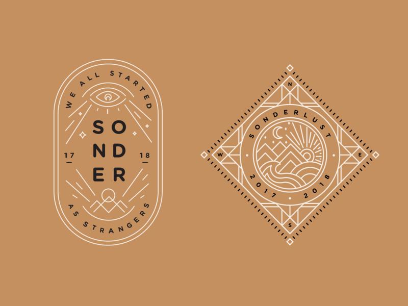 Sonder Badges linework illustration crest badge wanderlust travel sonder