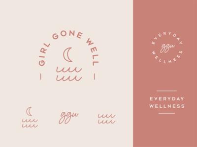 Girl Gone Well logo branding moon waves wellness