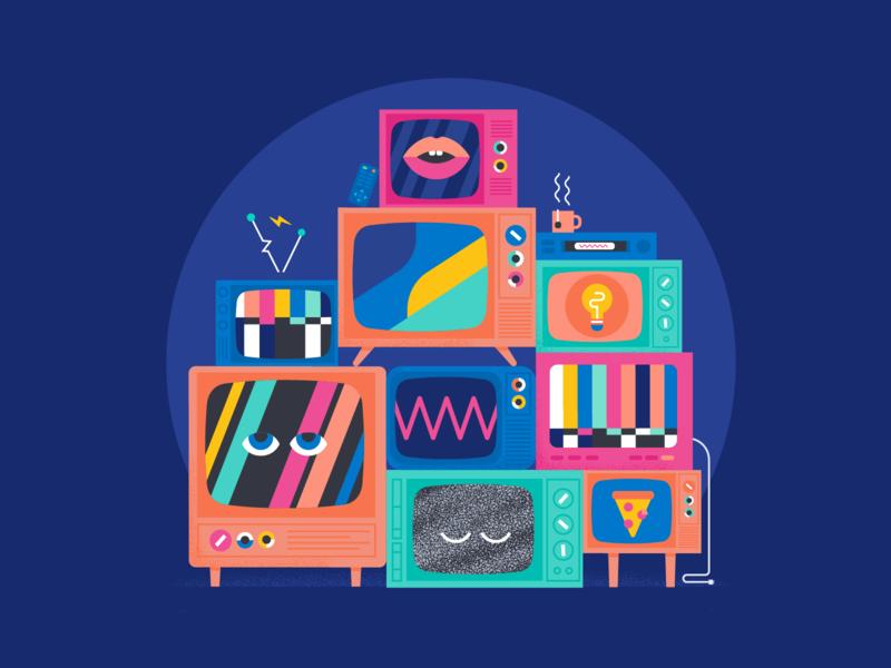GAH tv illustration stacked tv televisions tv