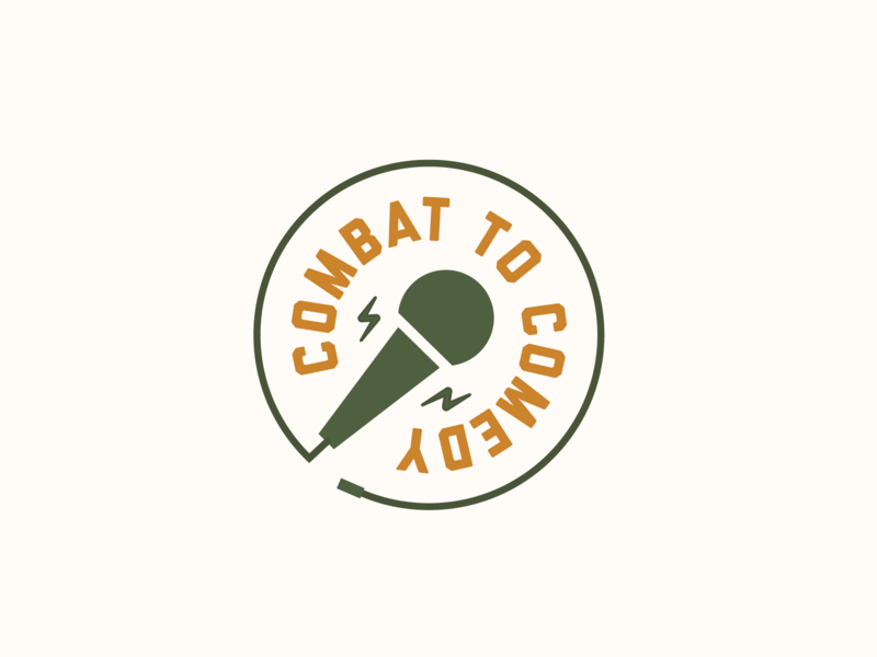 Combat to Comedy lockup badge branding microphone stand up comedy