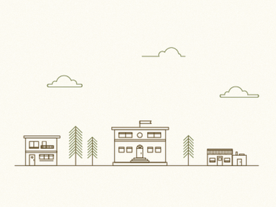 buildings icons illustration branding scout story clouds