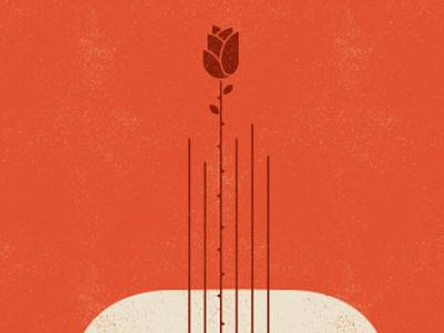 Valentines gig poster rose guitar valentines texture