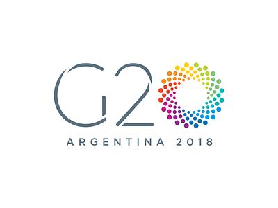 2018 G20 Summit politics tech startup logotype white circle dots rainbow event illustration logo graphic design design clean branding brandbook brand
