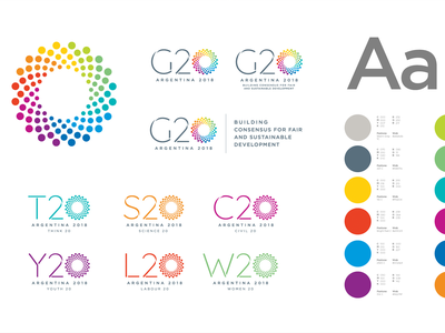 2018 G20 Summit Branding agency startup tech event summit argentina brand book application colors rainbow dots circle logotype logo graphic design design clean branding brandbook brand