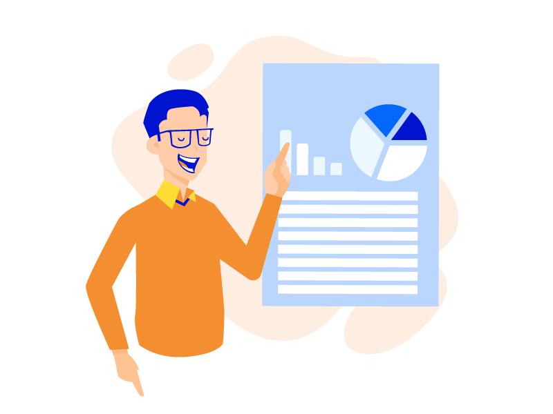 Expert guidance e-learning paper school test exam graph student teacher illustration