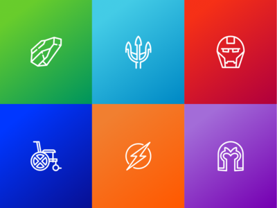 Superhero Icon Set for Packaging