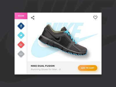 #010 - Social Share   Daily Ui Challenge shoes simple ecommerce social apps social share daily ui challenge dailyui clean white nike 010
