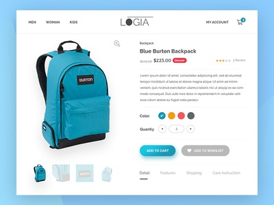 012 - Ecommerce Shop | Daily UI Challenge web ecommerce cms website ecommerche shop bag add to cart single page backpack single product shop ecommerce 012
