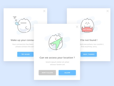 #016 - Popup   Daily UI Challenge access location not found sleep onboarding illustration character popup dailyui 016