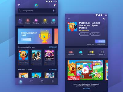 Redesign Google Play Store - Dark Mode dark mode google redesign app dark blue dark app illustration ux ui mobile play store redesign playstore google play