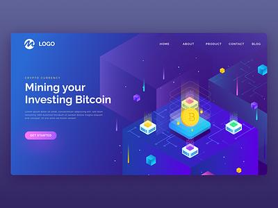 Blokchain Exploration Header Mining isometric web page landing page mining illustration header uiux exploration bitcoin block chain