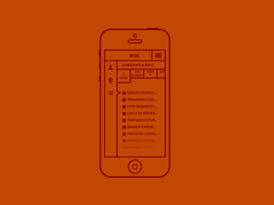 BOK app stylized wireframe