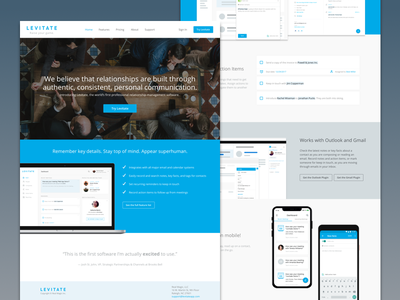 Levitate Marketing Site app site screenshots feature list marketing site landing page