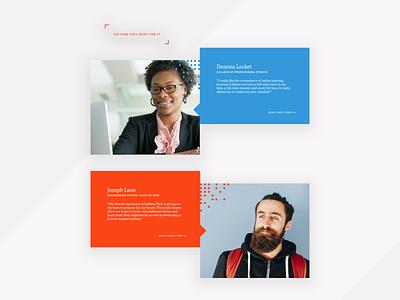 Student Testimonial Blocks website higher education typography art design web design design system