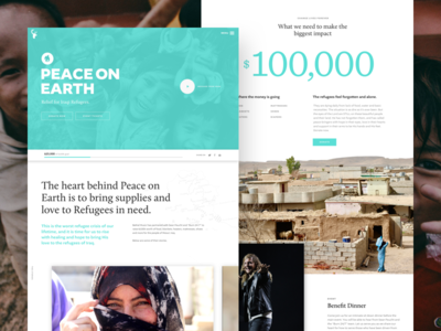 Peace on Earth Landing Page donation iraq refugees charity non profit grid dove branding blue minimal progress bar fundraiser website landing page peace on earth