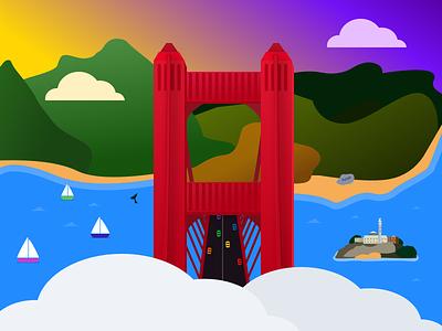 Spark Inbox Zero Illustration 🌁 illustration alcatraz golden gate bridge san francisco readdle spark