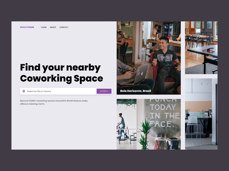 Hero exploration poppins yellow purple webdesign websites hero coworking space coworking