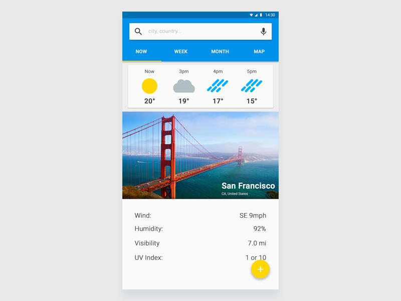 Weather App  md design material 2d ui dailyui app weather