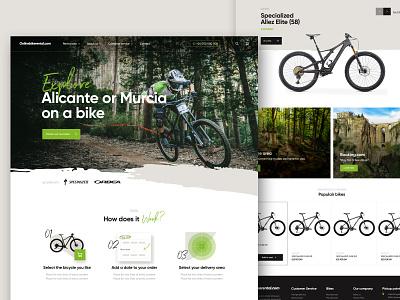 Rental bike shop home bike ride rental header web design shop ecommerce mountainbike bike