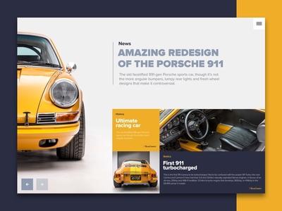Porsche 911 concept interface porsche car cars ux ui web design web